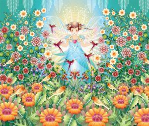 mural Catalina Estrada garden princess colour