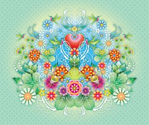 mural Catalina Estrada heart colour flowers