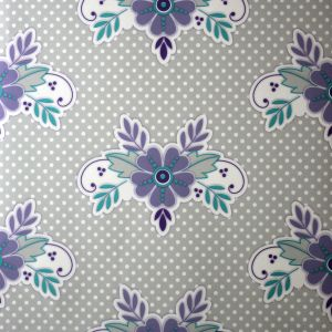 wallpaper,Catalina,Estrada,pruple,blue,flowers,grey,white,spots