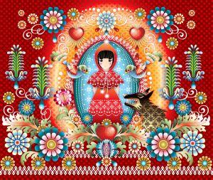 mural,Catalina,Estrada,Red,riding,hood,wolf