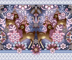 catalina,estrada,border,deers,flowers,pink