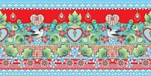 Catalina,Estrada,border,birds,flowers,blue,red