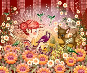 mural,Catalina,Estrada,red,garden,girl,animals,flowers