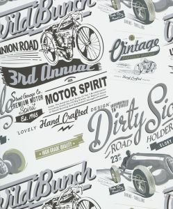 VINTAGE RALLY GREY WALLPAPER