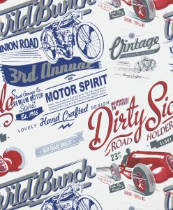 VINTAGE RALLY BLUE WALLPAPER