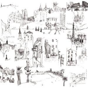 Black and White Barcelona Mural