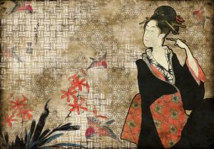 Mural Geisha Graffiti Red by Hiroshi Tsunoda