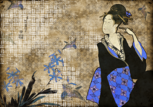 Mural Geisha Graffiti Blue by Hiroshi Tsunoda