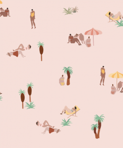 One day at the beach Pink wallpaper by Isabelle Feliu