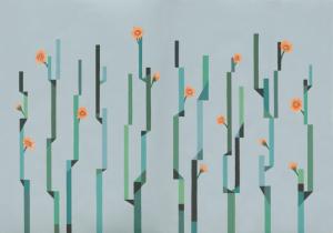 Mural Flor de Cactus Blue by Labienquerida