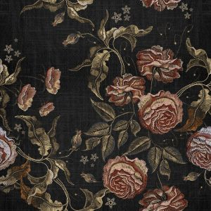 Mural Embroidery Flora Black