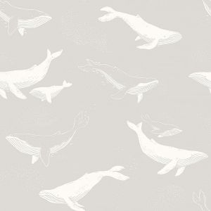Whales Grey wallpaper
