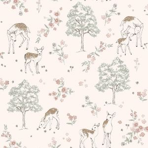 Deer Love Pink wallpaper