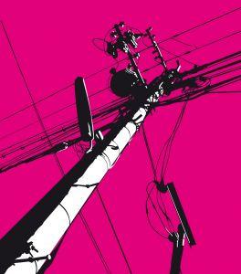 Pink Telegraph Pole Mural