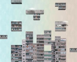 Mural Tetris Sunset