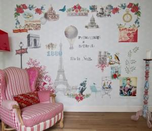 Mural Paris Je t'aime Pink