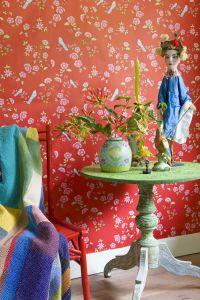 Bird Branches Wallpaper pink