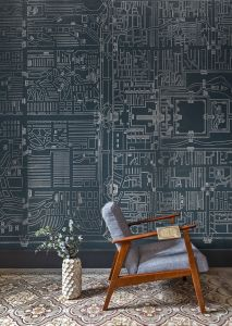 Mural Old Beiging Dark Blue