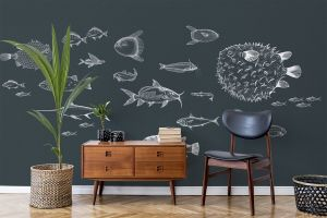 Mural Sea Current Navy