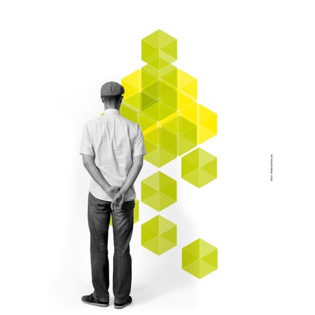 3D Cubes yellow Mural