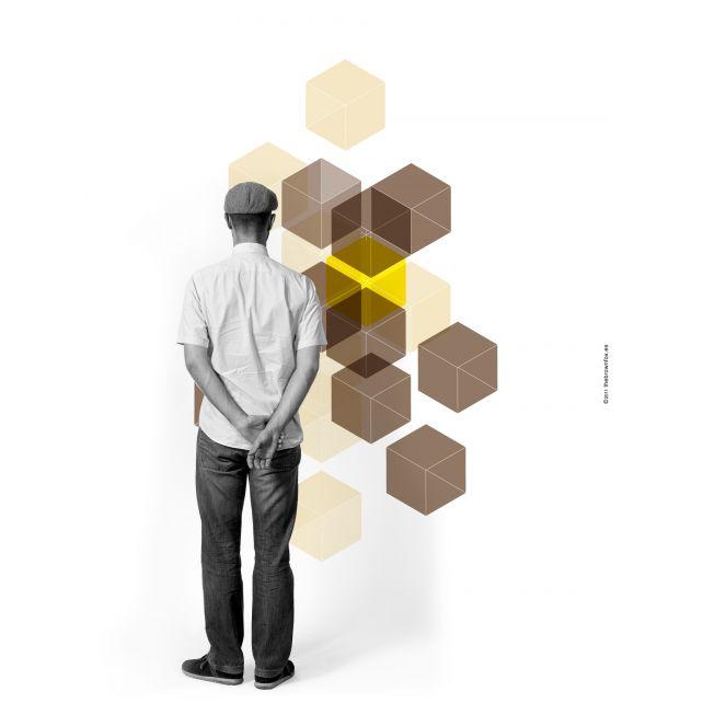 3D Cubes Brown Mural