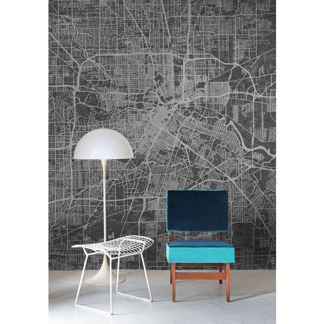 Mural Urban Map Black