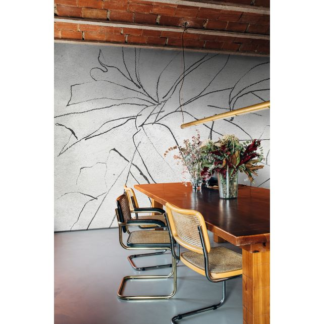 Mural Abstract Flora Black