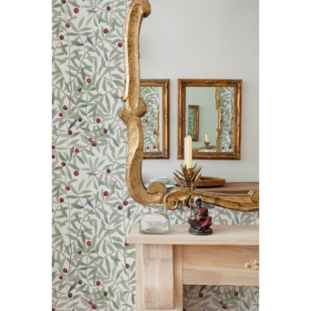 Leaf Craze White wallpaper by Andrea Zarraluqui
