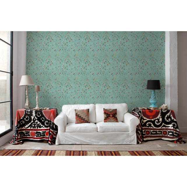 Leaf Craze Mint wallpaper by Andrea Zarraluqui