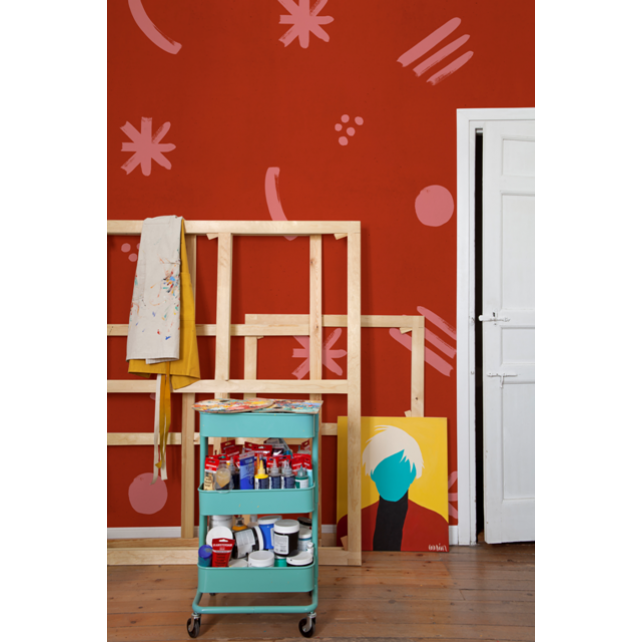 Mural Cosmic Childhood Red by Coco Davez
