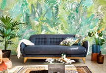 mural jaguar jungle leaves