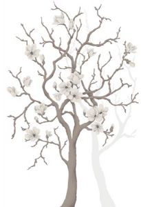 White Magnolia Tree Mural