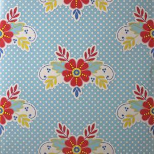 wallpaper,Catalina,Estrada,red,yellow,flowers,blue,white,spots