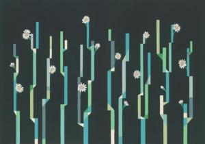 Mural Flor de Cactus Black by Labienquerida