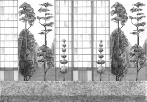 Mural Urban Garden Black and White by Pascua Ortega