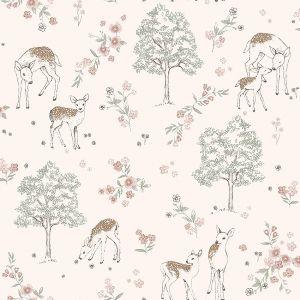 Deer Love Pink wallpaper