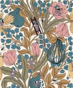Neo- Belle-epoque Pink wallpaper