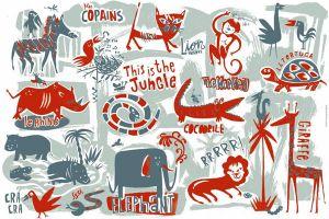 Grey Jungle Mural
