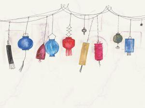 Tres Tintas lanterns party mural