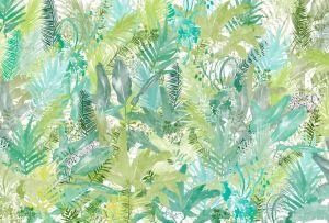 mural jaguar jungle leaves