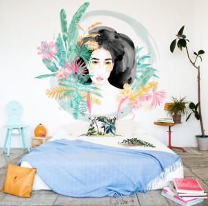 muurschilderingpalm,wild,vrouw,oerwoud