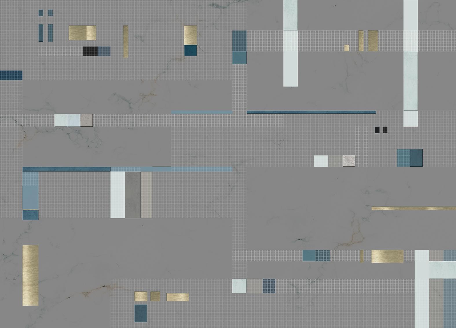 Mural Pixels Turquoise